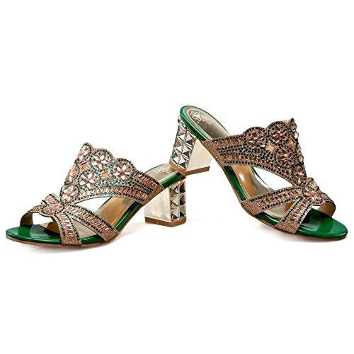 Shoes Classics LongFengMa Block High Slippers Heel Charm Ladies Green 5SwSqF0