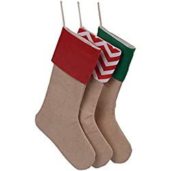 Huan Xun Set of 3 Pieces Burlap Christmas Stockings Decoration for Diy