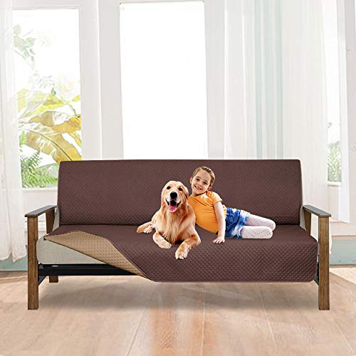 LUCKYBOY Reversible Futon Cover,Anti-Slip Professional Furniture Protector for Dog,Pet and Kid, Machine Washable (Chocolate/Camel, Futon) ()