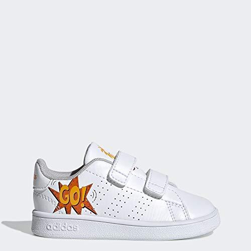 adidas Baby Advantage Sneaker, White/Orange, 4K M US Toddler (Orange Adidas Baby)