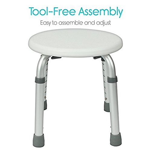 MDS- Professional Medical Product Adjustable Height Bath Stool For Elderly Bathroom Aid Safety Round Shower Stool Bath Seat TOOL FREE, 300lb weight capacity