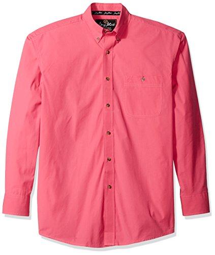 Wrangler Men's George Strait One Pocket Button Long Sleeve Woven Shirt, Pink, XL