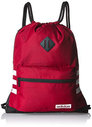 adidas Classic 3s Sackpack, Active Maroon/Black/White, One Size