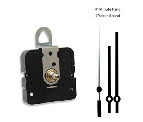 Takane Quartz Clock Movement Mechanism With 4'' Straight Hands, U.S.A. Made (11/16'' threaded shaft for dials up to 1/2'' thick)
