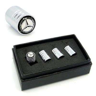 4pcs VA008 Chrome Car Styling Accessories Wheel Tire Valve Caps Stem Air For Mercedes Benz W211 W221 W220 W163 W164 W203 C E SLK GLK CLS M GL: Automotive