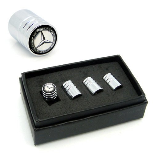 4pcs VA008 Chrome Car Styling Accessories Wheel Tire Valve Caps Stem Air For Mercedes Benz W211 W221 W220 W163 W164 W203 C E SLK GLK CLS M - Accessories Gl