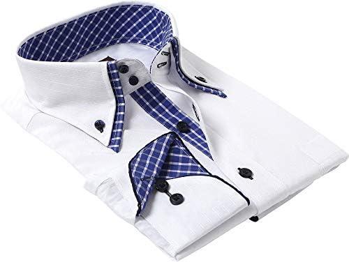 シャツスタイル(shirt style)ワイシャツ おしゃれ ボタンダウン 白 ドビー織り/スリム WHT-045
