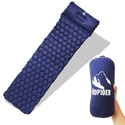 Hopider Ultralight Inflatable Sleeping Pad with Integrated Pillow For Camping,Hiking,Backpacking,Tent,Traveling ()