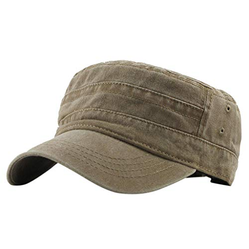 TnaIolral Unisex Cap, Denim Hat Outdoor Casual Cotton Soldier Visor Solid Flat Hat (Free Size, Khaki) ()