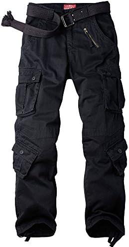 Abetteric Mens Solid Drawstring Big Pockets Elastic Bottom Chino Cargo Twill Pant Black 2XL