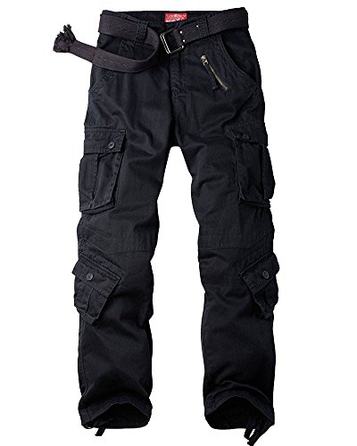 Jessie Kidden Men's Casual Military Cargo Pants, 8 Pockets Cotton Wild Combat Tactical Trousers,7533 Balck,40 Black -