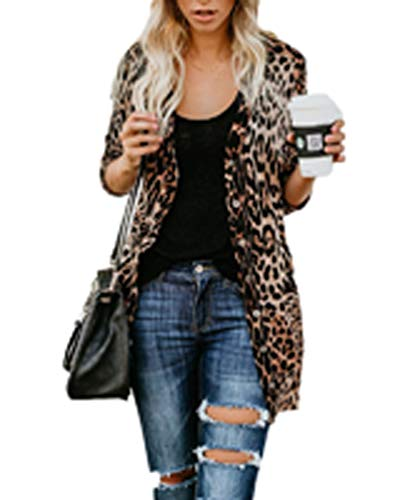 - Women's Lightweight Long Sleeve Leopard Print Button Down Cardigan (XX-Large, Brown)