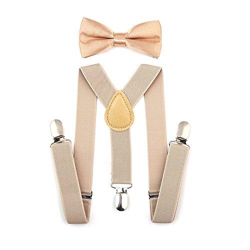 ZeroShop 1920s Mens Accessory Set Manhattan Fedora Hat, Suspenders Y-Back Elastic Trouser Braces,Pre Tied Bow Tie,Gangster Tie (Onesize, Champagne)