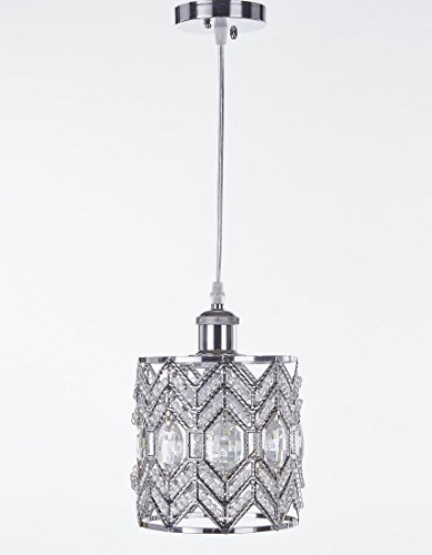 New Galaxy Lighting 1-light Chrome Finish Modern Crystal Chandelier Pendant Hanging Lighting Fixture