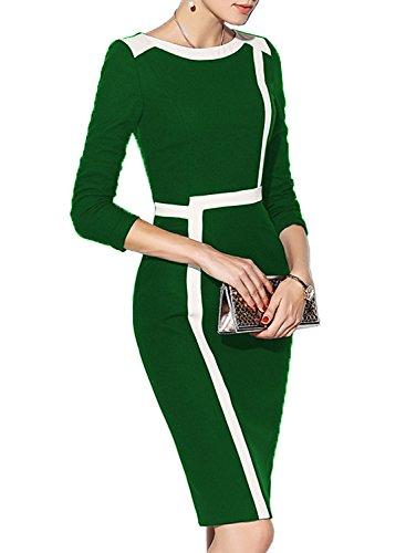 Colorblock Suit (WOOSEA Women's 2/3 Sleeve Colorblock Slim Bodycon Wear to Work Pencil Dress (Green+White, Medium))