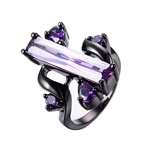 WOWJEW Unique Design Long Amethyst Jewelry Purple Zircon Rings Wedding s 14KT Black Gold Filled CZ Ring 10.0