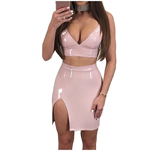 - Abetteric Womens Solid Camisole Crop Leather Skirt 2-Piece Outfits Set Pink M