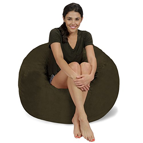Chill Sack Bean Bag Chair: Large 3' Memory Foam Furniture Bean Bag - Big Sofa with Soft Micro Fiber Cover - Olive Micro Suede Olive Fabric Sofa
