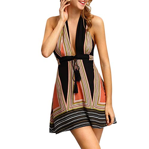 Sexy Strapless Shoulder Striped Printed with Belt Halter Backless Maxi Beach Dress Kleider Dam,Khaki,S,US (Slumber Party Ideas For 9 Year Olds)