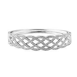 Joy Diamond Silvertone Weaved Cuff Bracelet