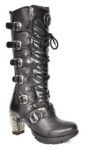 Damen Knielänge Schwarz Lederstiefel Designer NEW ROCK Gotisches Retro Blockabsatz - A1004S1