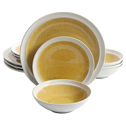 (Gibson Elite Clementine 12 Piece Dinnerware Set, Yellow)