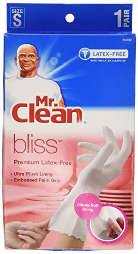Mr. Clean Bliss Premium Latex-Free Gloves, Small, 4 pairs (Best Rubber Gloves For Sensitive Skin)