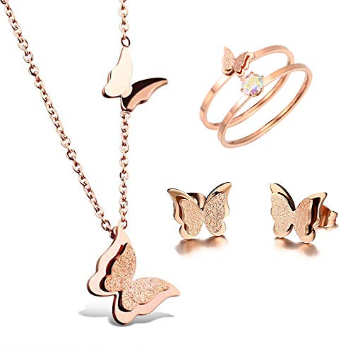 Set Butterfly Stud Earring (BAFOME 18k Rose Gold Stainless Steel Butterfly Jewelry Set Necklace Ring Stud Earrings Best Gift for Women Girl)