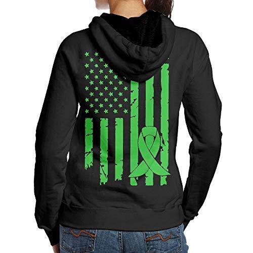 BMWEITIHB Mental Health Cancer Awareness USA Flag Womens Hoodie (Back Print)