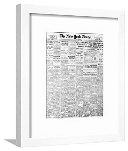 ArtEdge 1929 Cover of New York Times Newspaper White Wall Art Framed Print, 12x9, Soft Mat
