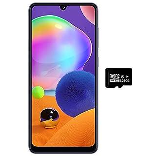 """Samsung Galaxy A31 (128GB, 4GB) 6.4"""" FHD+, Quad Camera, 5000mAh Battery, Dual SIM GSM Unlocked US + Global 4G LTE International Model - A315G/DSL (Prism Crush Blue, 128GB + 128GB SD + Case Bundle)"""