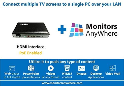 - Monitors Anywhere - Display Your Content on Multiple Monitors Using a Single PC! HDMI Over LAN, Video Extender, Thin Global MiniPoint Digital Signage PoE