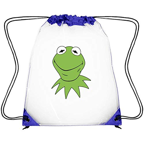 EDCPLM Transparent PVC Plastic Green Smile Frog Traveling Sports Drawstring Cinch Bags Backpack