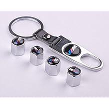 D&R 4 Car Wheel Tire Valve Stem Air Caps Covers 1 Set Plus Bonus Keychain For BMW M Silver by Dr Dry