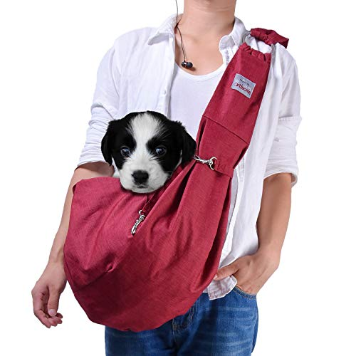 artisome Reversible Medium Dogs & Cats Sling Carrier Bag Suitable for 8-15 lbs Purse Waterproof Travel Hand-Free Pet Backpack