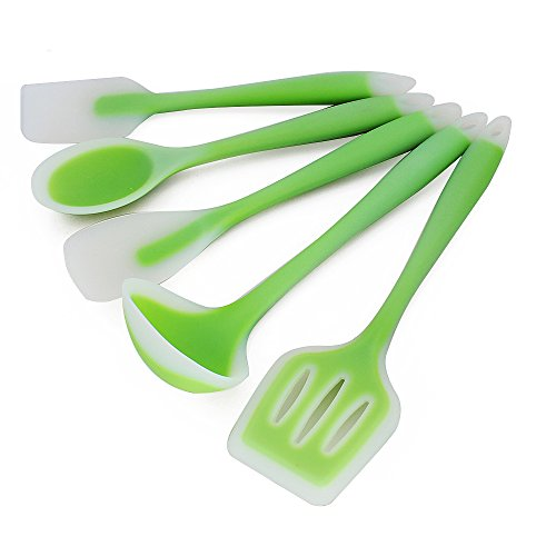 (EALEK Silicone Kitchen Utensil, Set of 5 Pieces Cooking Baking Utensils Tool Set, Heat-Resistant, Non-Stick, Non Scratch Kitchen Set, Easy to Use & Clean)