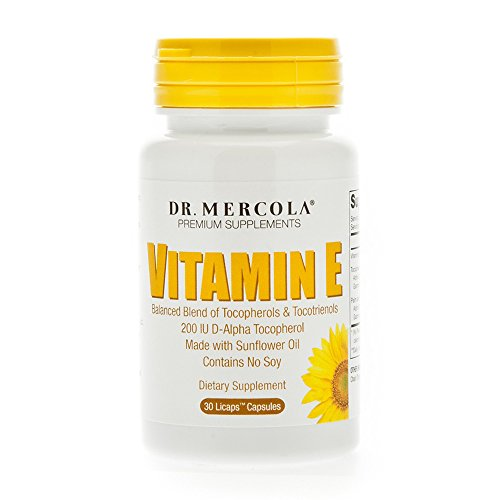 Dr. Mercola Vitamin E Supplement - 30 Capsules - 2 Bottles - Balanced Blend Of Tocopherols And Tocotrienols - Made With Sunflower Oil - Contains No Soy - 200 IU D-Alpha Tocopherol D-alpha Tocopherol Tocotrienols Vitamin E