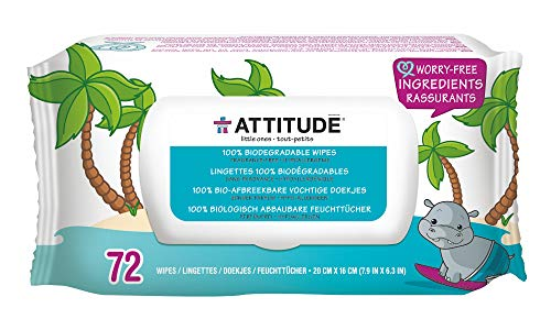 ATTITUDE Biodegradable Baby Wipes for Sensitive Skin, Plant-Based & Hypoallergenic, Free of phenoxyethanol, Fragrance-Free, 72 Count