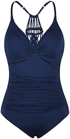 Firpearl Women's Halter One Piece Swimsuits Braid Macrame Ruched Tummy Control Swimwear