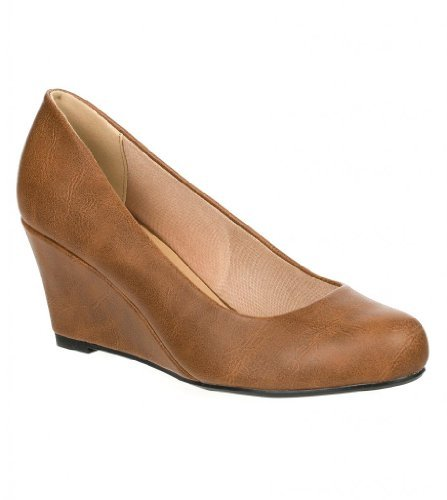Wedge Tan Shoes Leather Heels (Forever Link Women's DORIS-23 Faux Leather Mid Heel Round Toe Wedge Pumps Tan 8.5)
