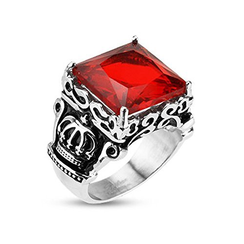 Stainless Steel Royal Crown Red Stone Biker Men's Ring - Size 9