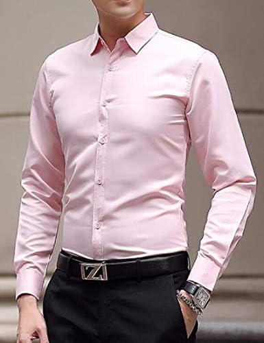 CRYYU Men African Dashiki Stand Collar Long Sleeve Stitching Button-Front Shirts