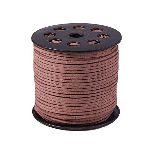 PH PandaHall 1 Roll (98 Yards, 295 Feet) 2.5mm Wide Faux Suede Cord Flat Micro Fiber Lace Leather Spool for Beading Necklace Jewelry Making (Camel)
