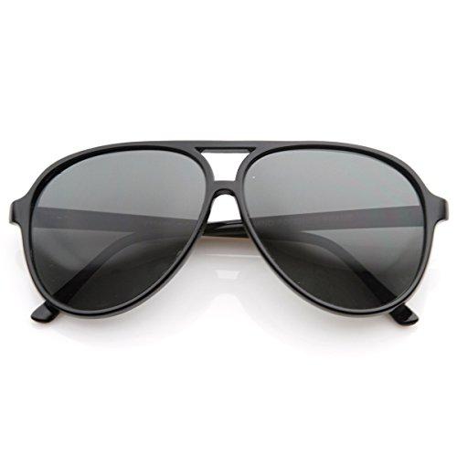 zeroUV - Polarized Protective Lens Classic Teardrop Design Plastic Aviator Sunglasses (Black)