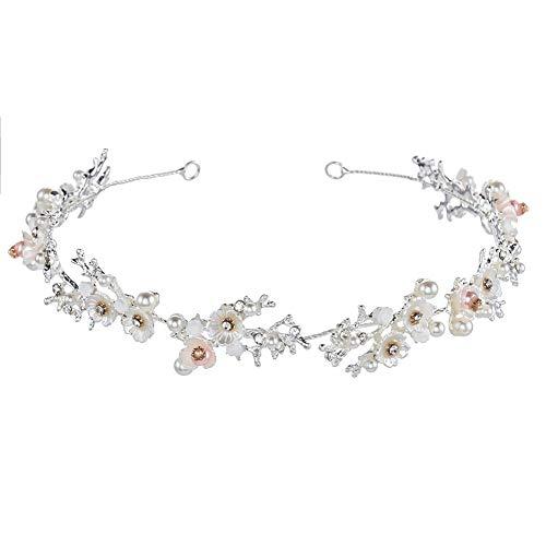 - Bridal Daisy White Flower Crystal Pearl Headband Hair Vine Rhinestone Tiara Girl Crown Elegant Women's Wedding Sweet Hair Accessories Adjustable+Hair Clip