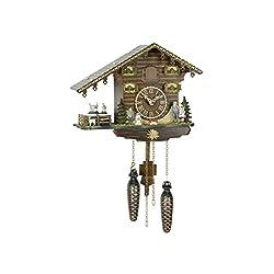 Trenkle Uhren Quartz Cuckoo Clock Swiss house, turning goats