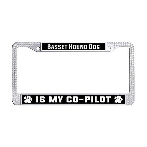 Hensonata Bling Bling White Rhinestone Stainless Steel License Plate Frames, Basset Hound Dog is My Co-Pilot Cool Waterproof Slim Design Metal Glitter Crystal Car Licenses Plate Covers]()