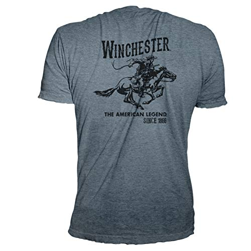 Winchester Official Men's Vintage Rider Graphic Printed Short Sleeve Cotton T-Shirt (XXL, Heather - Official Xxl T-shirt