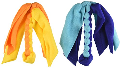 Cheap Squishy Face Studio Value Pack Braided Fleece Lure Toy for Dogs, Blue/Aqua/Orange/Yellow
