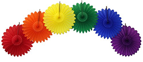 (18 Inch Fanburst Classic Rainbow Party Decorations (Six Fanburst)